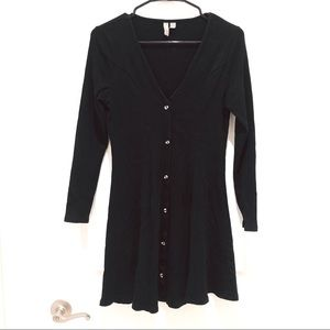 ASOS Black Long Sleeve Button Down Dress Medium